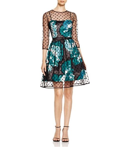 Eliza Polcadot Luxury 288 1 eliza j illusion polka dot overlay floral fit and flare dress bloomingdale s