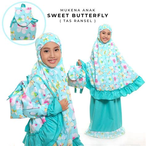 Mukena Anak Butterfly Pink mukena sweet butterfly toska ransel l belimukena