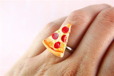 miniature food jewelry pizza ring engagement ring