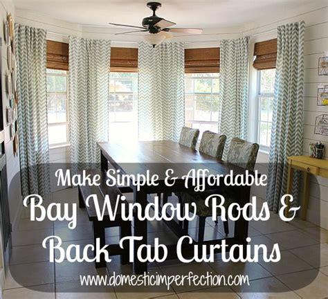 tab curtains diy diy bay window curtain rod back tab curtains tab