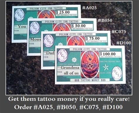 75 Dollar Gift Card - gift card for 75 dollars in tattoo money c075 folsom city ink tattoos