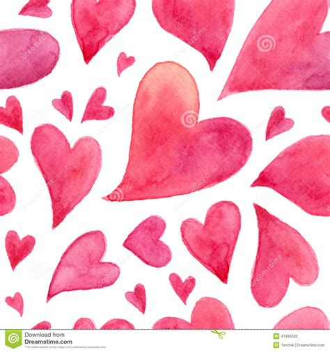pink watercolor pattern pink watercolor painted hearts seamless pattern stock