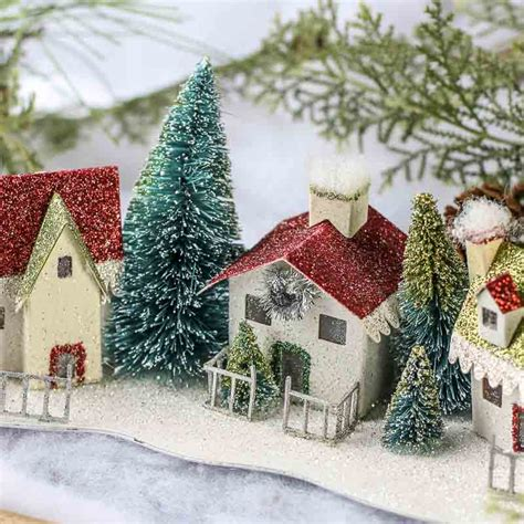 glittered miniature christmas village table decor