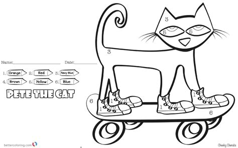 pete the cat coloring page pete the cat coloring pages color by number skateboard