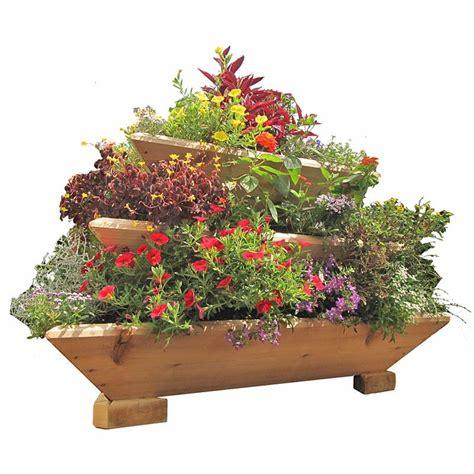 cedar wood planter trio 3 tier freestanding