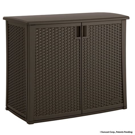 Patio Storage Cabinet Suncast 97 Gal Resin Outdoor Patio Cabinet Bmoc4100 The Home Depot
