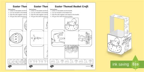 easter card templates twinkl easter themed basket craft easter basket gift present