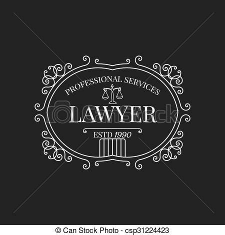 lawyer logo vector free vector illustration of firm logo lawyer logo with swirls scale and vintage csp31224423
