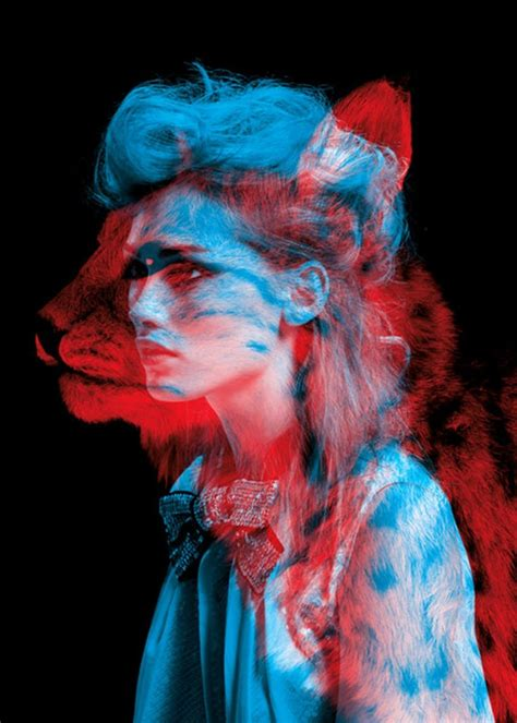 women  animals red blue anaglyph  wallpapers hd