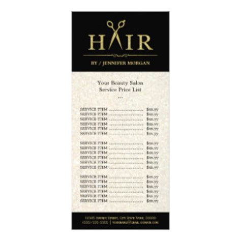 hair price list template price list gifts t shirts posters other gift