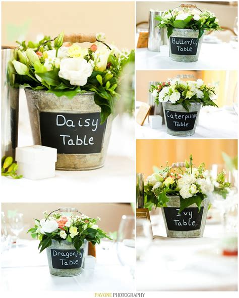 country garden rustic themed centerpieces flowers in buckets chalk board buckets
