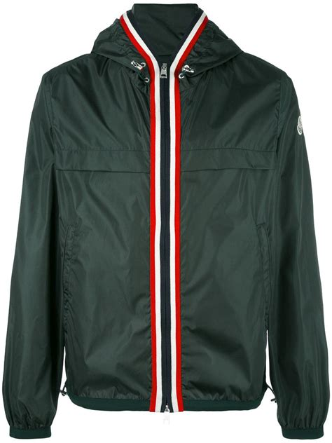 moncler striped trim hooded jacket in green for lyst