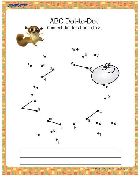 printable alphabet dot to dot abc dot to dot printable kindergarten worksheet