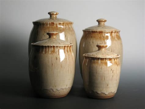 canister set pottery stoneware kitchen canisters