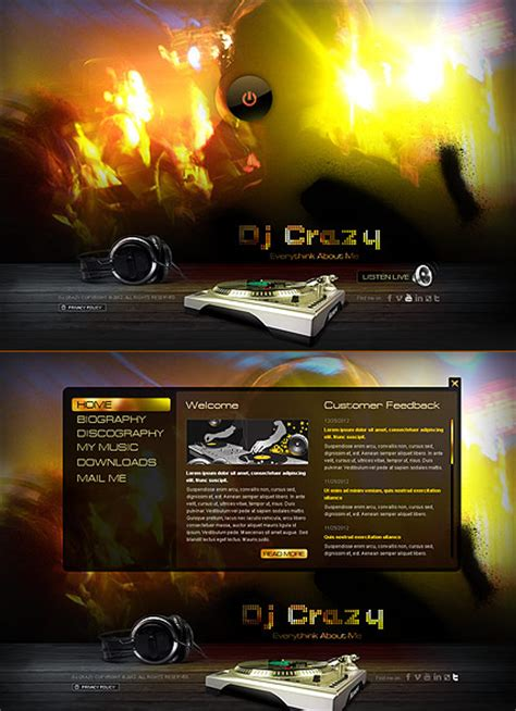 dj templates dj html5 template best website templates