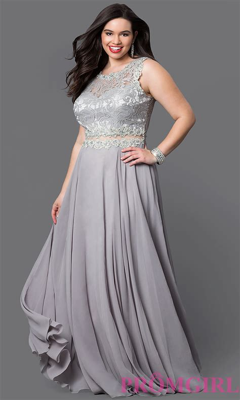 Big Size Blusilver mock two plus size prom dress promgirl