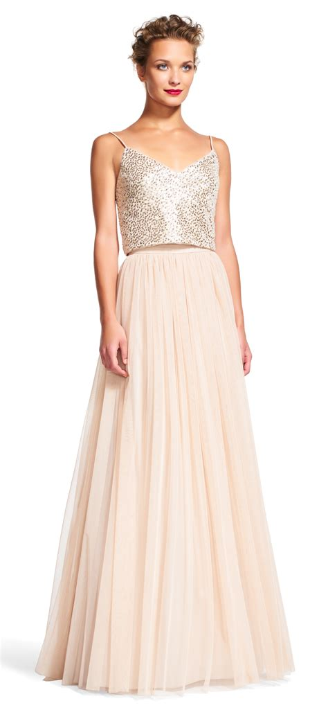 sequin tank top dress set with tulle skirt papell