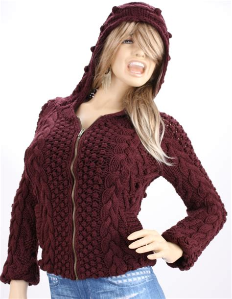 hooded cable knit sweater s secret zip up hooded bomber cable knit cardigan