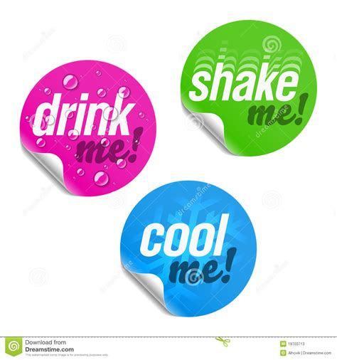 Coole Aufkleber Kostenlos by Drink Me Shake Me And Cool Me Stickers Stock Vector