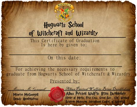 hogwarts certificate template graduation certificate 1 by captainjackharkness on deviantart