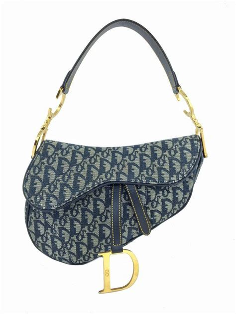 christian dior monogram canvas medium saddle bag blue