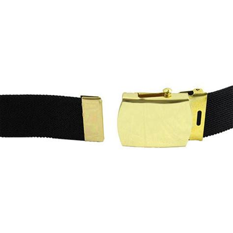 army dress belt 44 inch black cotton with gold buckle