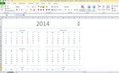 excel perpetual calendar template any year perpetual calendar template for excel