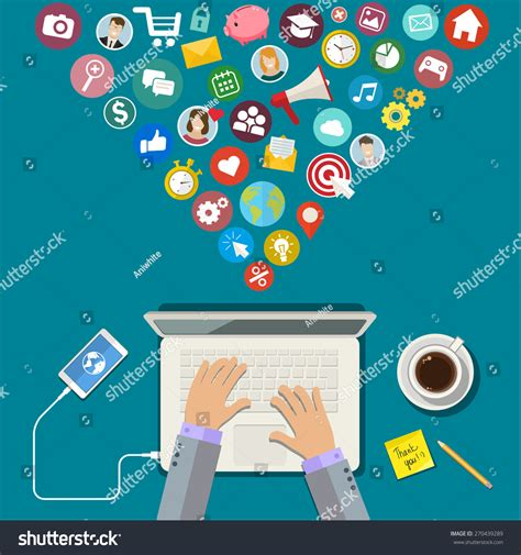 digital marketing concept flat design vector