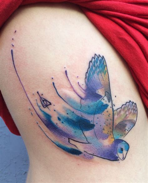 watercolor tattoos ta fl harry potter owl hedwig deathly hallows watercolor