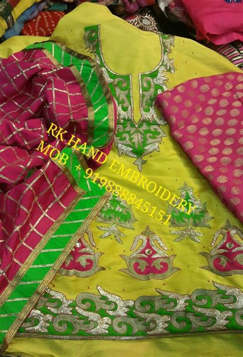 boutique in punjab hand embriodery machine embriodery designer hand work punjabi suits collection rk hand