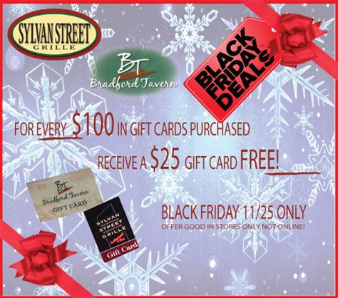 Black Friday Gift Card Sales - black friday gift card sale in store only sylvan street grille peabody ma