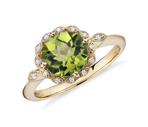 Peridot Rings by Peridot And Milgrain Halo Ring In 14k Yellow Gold