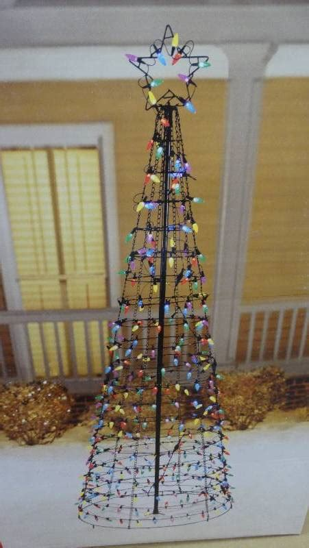 6 feet christmas tree with lughts 5 star 6 ft led pre lit cone tree with and multi lights new hardware outdoor