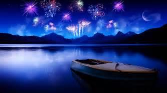 1920x1080 cool bright twilight fireworks lake desktop