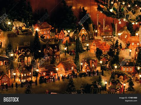 mini christmas village houses christmas village miniature houses stock photo stock images bigstock
