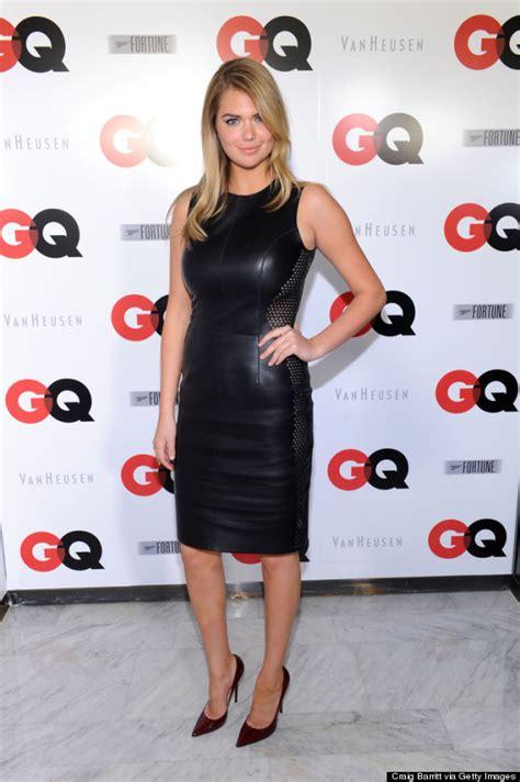A Roster Dress kate upton rocks leather dress at gq bowl bash gets