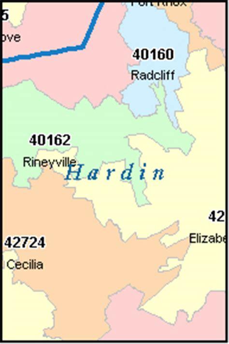 zip code map kentucky hardin county kentucky digital zip code map