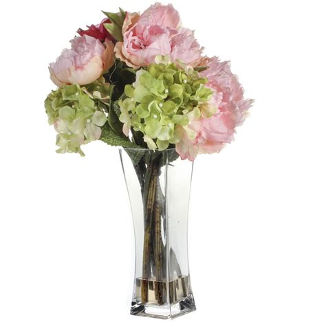 Artificial Peonies In Vase by Artificial Hydrangea And Peony Vase Floral Sale