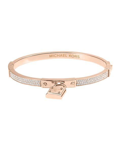 Michael Kors Pave Hinge Padlock Bangle in Pink (ROSE GOLD)   Lyst