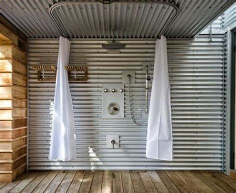 outdoor curtain tracks outdoor shower using curtain tracks ed leimgardt