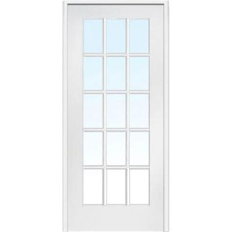 milette interior french door primed with 15 lites clear milliken millwork 30 in x 80 in classic clear glass 15