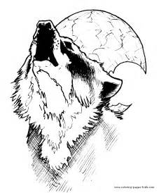 wolf coloring pages for adults wolf howling at the moon color page