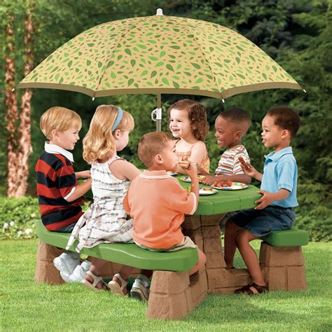 toddler picnic table with umbrella naturally playful picnic table with umbrella step2