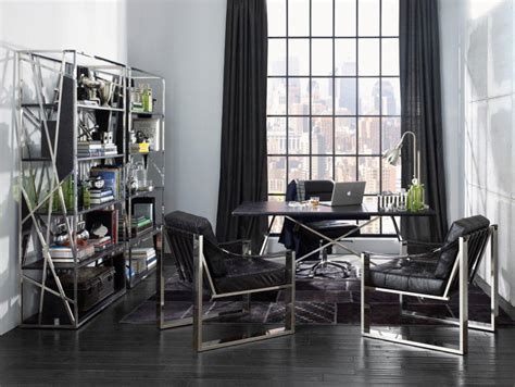 Home office industrial modern home office idea with hairpin desk also metal shelving units