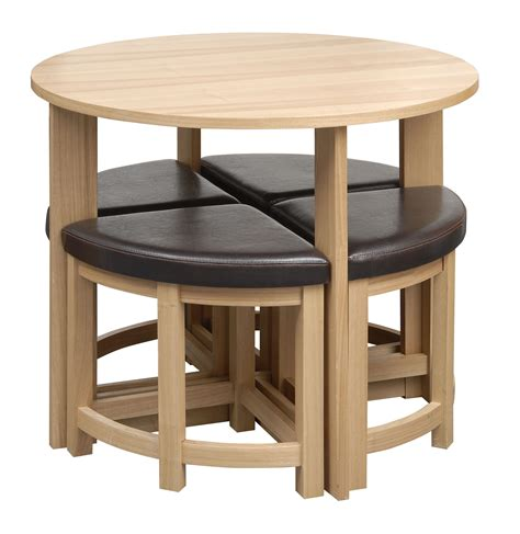 Stowaway Dining Table Dining Table Set Oak Effect 4 Seater Brown Padded Dining Chairs Stowaway Ebay