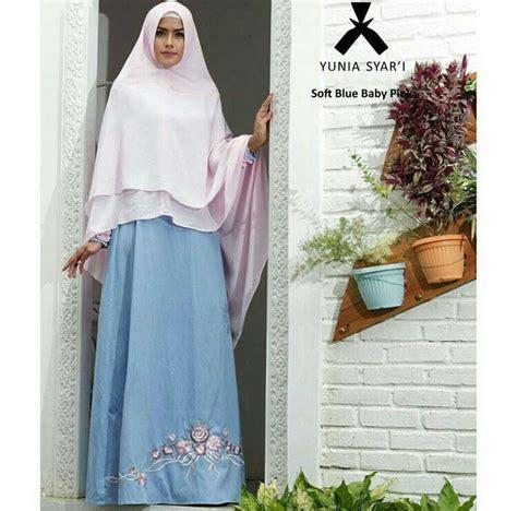 Premium Gamis Polos Gamis Busui Gamis Payung Gamis Crepe Safur gamis syari katun denim yunia biru model baju gamis terbaru