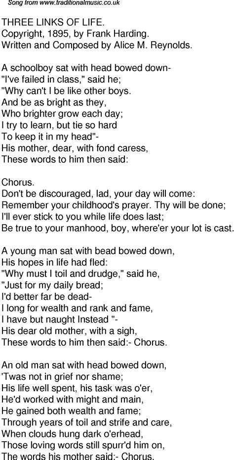 Old Time Song Lyrics For 48 Three Links Of Life