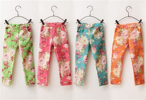 Rich Cotton Legging Flowers Rainbow cotton for fashion children print colorful denim trousers printing flower