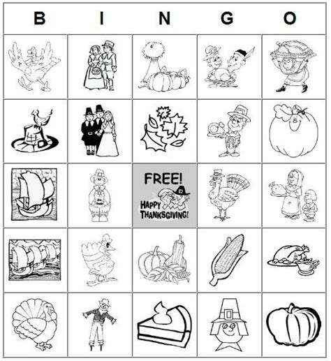 printable thanksgiving cards black white 7 best images of dltk printable bingo cards free