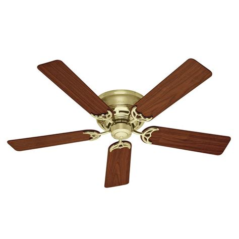 bright brass ceiling fans hunter low profile iii 52 in indoor bright brass ceiling